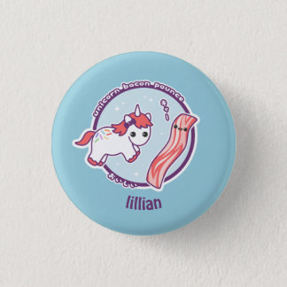 Cute Unicorn with Bacon 1 Inch Round Button