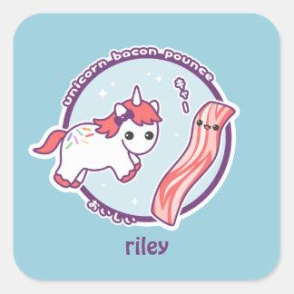 Cute Unicorn with Bacon Square Sticker