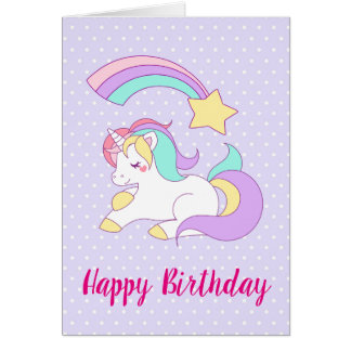 Cute Unicorn with Colorful Shooting Star Birthday Card