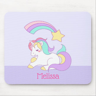 Cute Unicorn with Colorful Shooting Star Custom Mouse Pad
