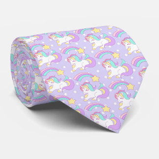 Cute Unicorn with Colorful Shooting Star Tie