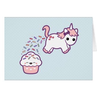 Cute Unicorn with Cupcake Card