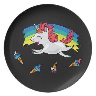 Cute Unicorn with rainbow cool illustration Plate