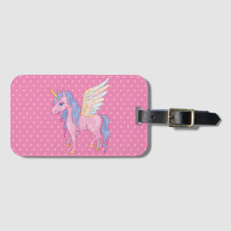 Cute Unicorn with rainbow wings illustration Bag Tag