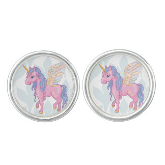 Cute Unicorn with rainbow wings illustration Cufflinks