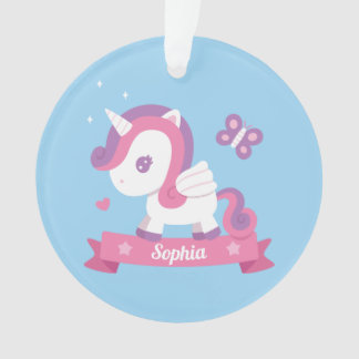 Cute Unicorn with Wings Girls Name Ornament