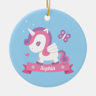Cute Unicorn with Wings Kids Personalized Ornament