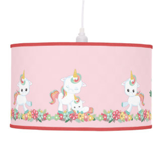 Cute Unicorns and Floral Pendant Lamp