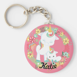 Cute Unicorns and Floral Personalized Keychain