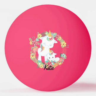 Cute Unicorns and Floral Personalized Ping Pong Ball