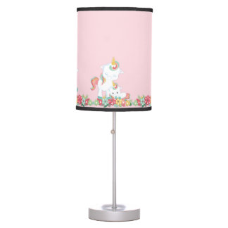 Cute Unicorns and Floral Table Lamp
