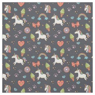 Cute Unicorns and Rainbows Midnight Blue Pattern Fabric