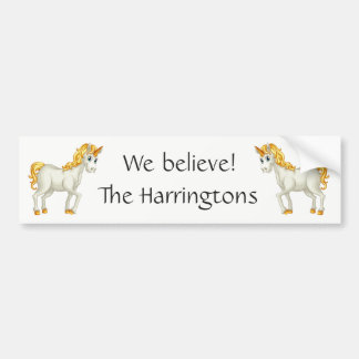 Cute Unicorns custom text bumpersticker Bumper Sticker
