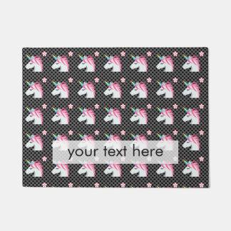 Cute Unicorns Flower Emoji Polka Dots Pattern Doormat