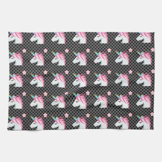 Cute Unicorns Flower Emoji Polka Dots Pattern Kitchen Towel