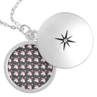 Cute Unicorns Flower Emoji Polka Dots Pattern Silver Plated Necklace