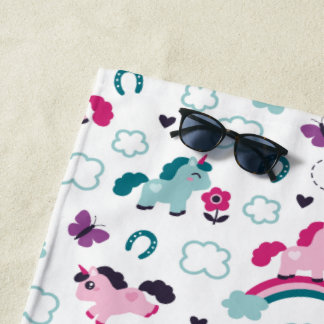 Cute Unicorns Pattern Beach Towel