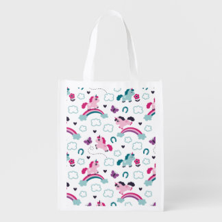 Cute Unicorns Pattern Reusable Grocery Bag