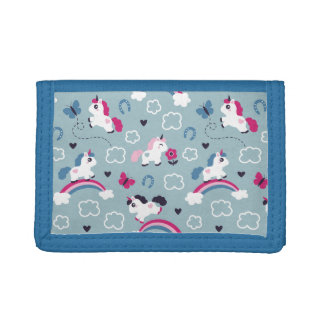 Cute Unicorns Pattern Tri-fold Wallet