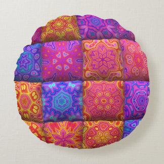Cute unique patchwork design round pillow