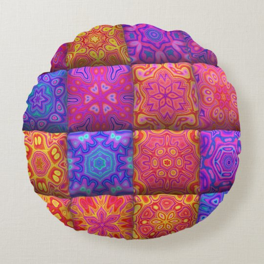 Cute unique patchwork design round pillow