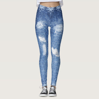 Cute Unique Stressed Out Blue Denim Look Leggings