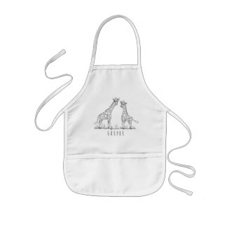 Cute Unisex Doodle Giraffes Safari with Name Kids Apron