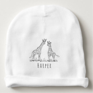 Cute Unisex Giraffe Safari Doodle with Name Baby Beanie