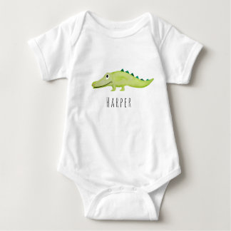 Cute Unisex Watercolor Crocodile Safari with Name Baby Bodysuit