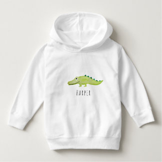 Cute Unisex Watercolor Crocodile Safari with Name Hoodie