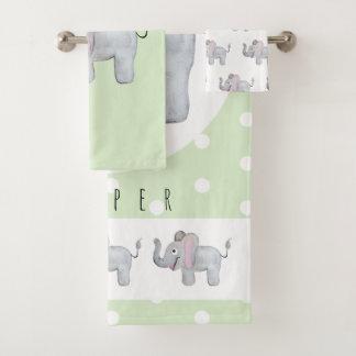 Cute Unisex Watercolor Elephant Safari Baby/Child Bath Towel Set