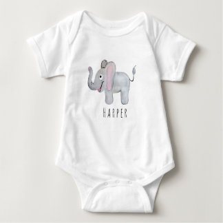Cute Unisex Watercolor Elephant Safari with Name Baby Bodysuit