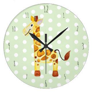 Cute Unisex Watercolor Giraffe Safari Dots Nursery Large Clock