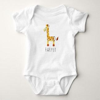 Cute Unisex Watercolor Giraffe Safari with Name Baby Bodysuit