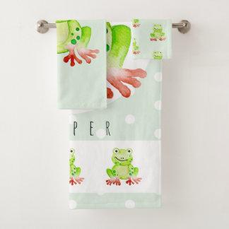 Cute Unisex Watercolor Jungle Frog Baby/Child's Bath Towel Set