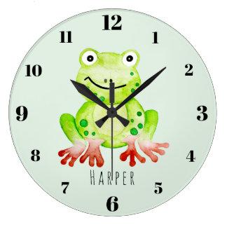 Cute Unisex Watercolor Jungle Green Frog Nursery Large Clock