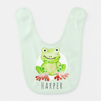 Cute Unisex Watercolor Jungle Green Frog with Name Bib