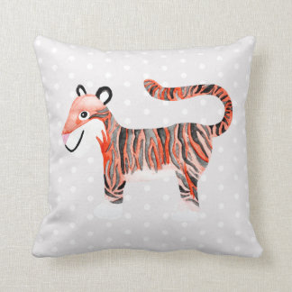 Cute Unisex Watercolor Jungle Tiger Baby Nursery Throw Pillow