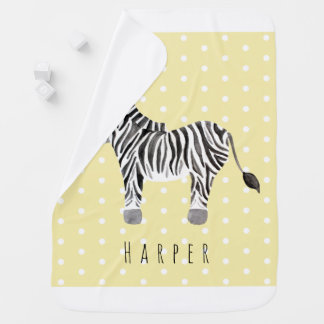 Cute Unisex Watercolor Zebra Safari Dots & Name Baby Blanket