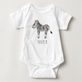 Cute Unisex Watercolor Zebra Safari with Name Baby Bodysuit