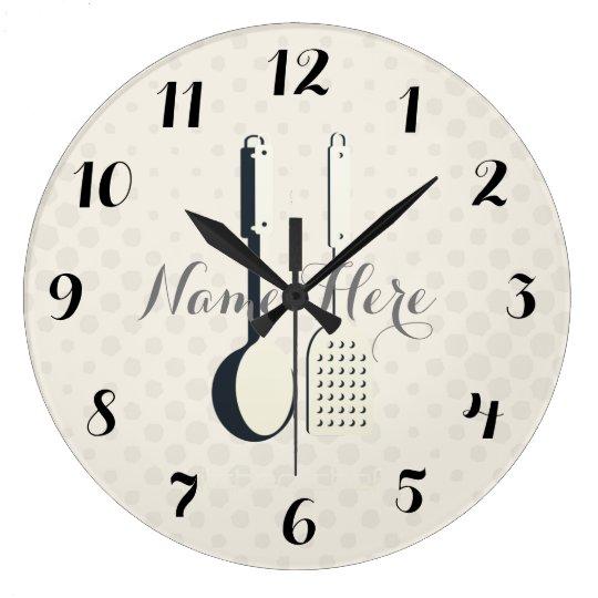 Cute Utensils  Dots Add Name Kitchen Wall  Clock