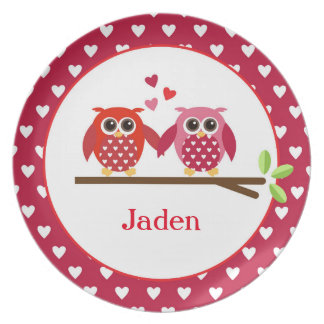 Cute Valentine Owls - Personalized Plate
