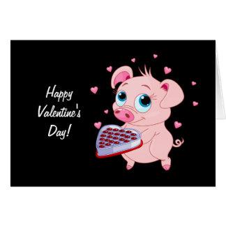 Cute Valentine Pig Greeting Card