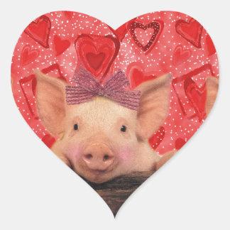 Cute Valentine pigs Heart Sticker