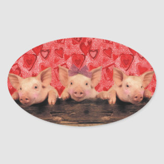 Cute Valentine pigs Oval Sticker