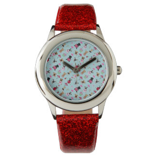 Cute Valentine Pugs on Blue Background Wristwatches