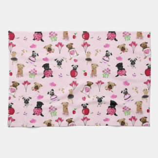 Cute Valentine Pugs on Pink Background Hand Towel