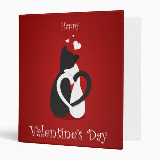 Cute Valentine's Day Cats Love 3 Ring Binder