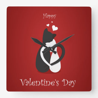 Cute Valentine's Day Cats Love Wall Clock