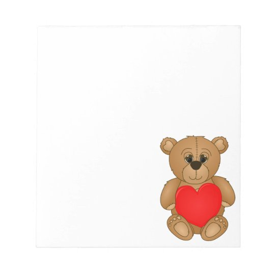 Cute Valentines Teddy Bear with Big Heart Notepad